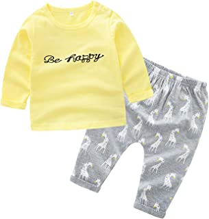 Fairy Baby 2Pc Baby Girls Outfit Clothes Set Be Happy Letter Print Shirts Tops and Pant Set
