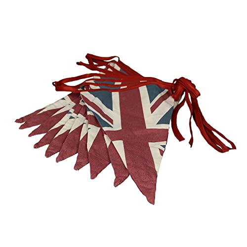 ASVP Shop Vintage British Union Jack Textile Flag Cloth Fabric Bunting Retro Banner UK 16.5 feet