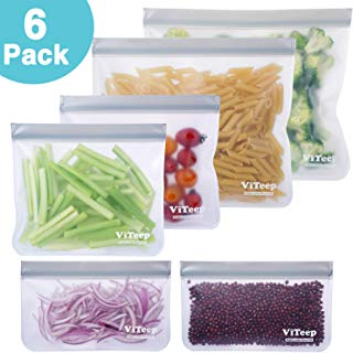 Reusable Storage Bags 6 Pack Leakproof Freezer Gallon Bag - Extra Thick PEVA Ziplock Bags Ideal for Food Snacks,Marinate Meats, Fruit, Vegetable,Cereal, Travel Items and Home Organization