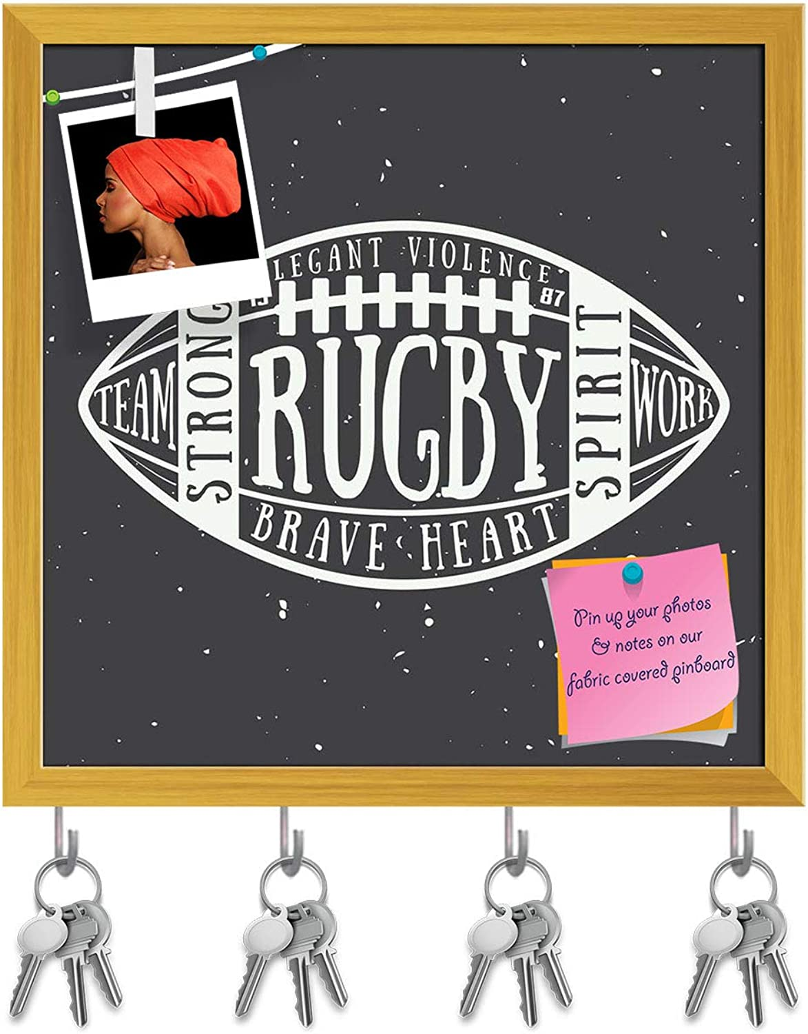 Artzfolio Rugby Or American Football Ball D2 Key Holder Hooks   Notice Pin Board   golden Frame 6 X 6Inch