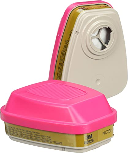3M P100 Respirator Cartridge/Filter 60926, 1 Pair, Helps Protect Against Organic Vapors, Acid Gases, Ammonia Methylam...