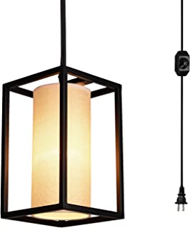 Creatgeek Plug-In Modern Pendant Light with Natural Linen Drum Shade, 15'Cord and In-Line On/Off Dimmer Switch, Black Finish Style