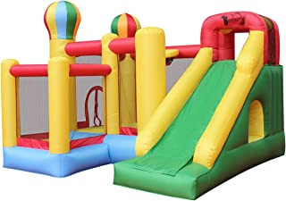 Inflatable Bouncy Slide Bounce House 6 in 1 with Slide Basket Hoop Climbing Wall Tunnel Blower