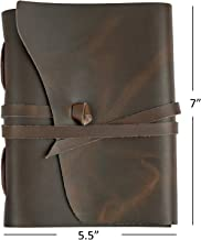 Ricco Bello Artista Handmade Leather Journal Sketchbook, 280 Unlined Pages - 5.5 x 7 inches (Brown)