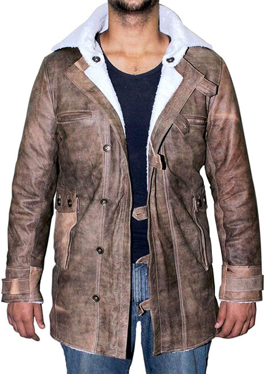 Blingsoul Mens Shearling Bomber Jacket - Distressed Real Leather Winter Coat for Men