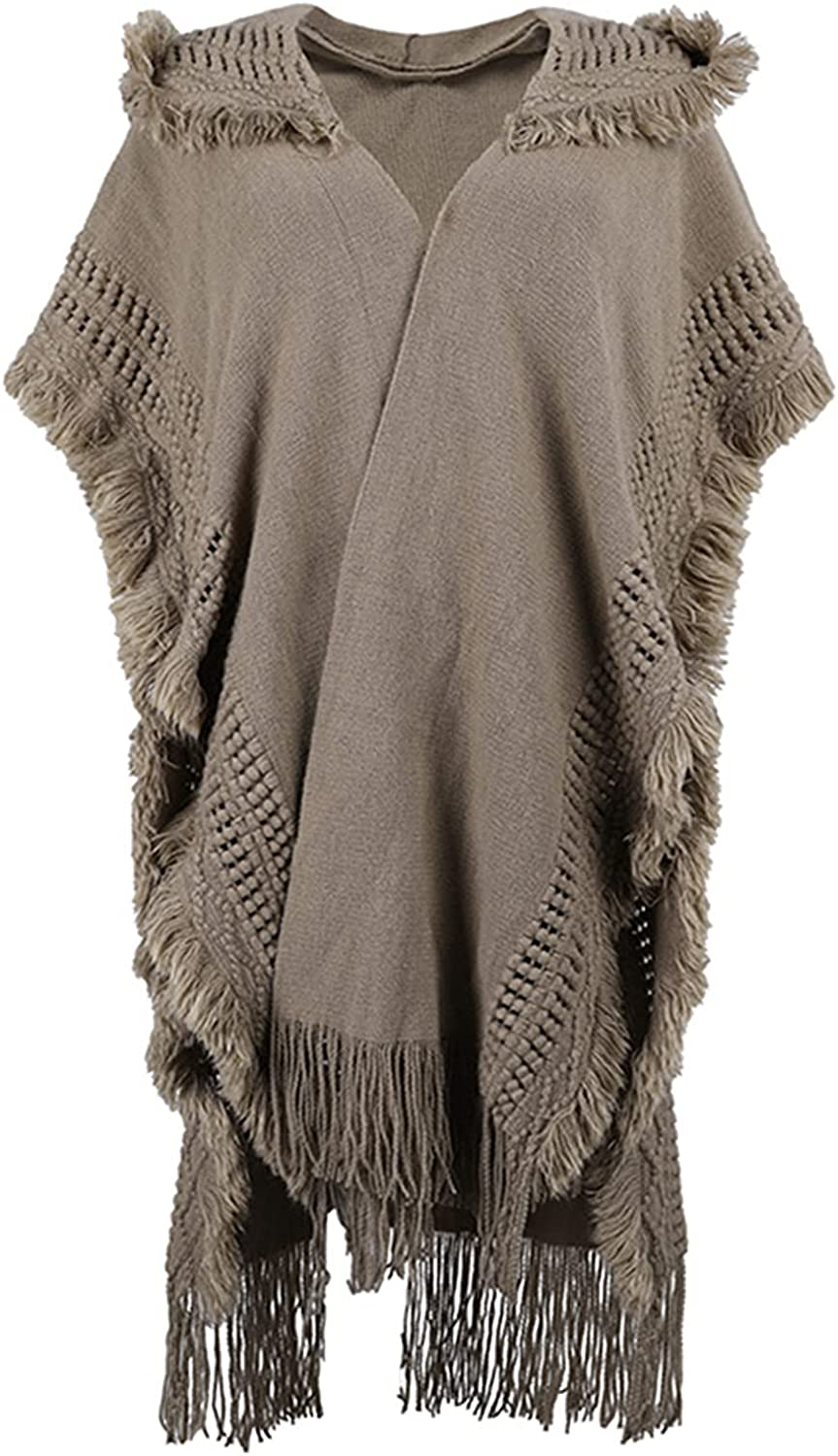 Women's Knitted Tassel Poncho Shawl Open Front Hooded Cape Cardigan Sweater Coat with Fringed Hem