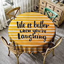 Lauren Russell Printed Tablecloth Quote Life is Better When You are Laughing Hand Drawn Calligraphy on Stripes Orange Yellow and Black Reusable Round Tablecloth Diameter 60