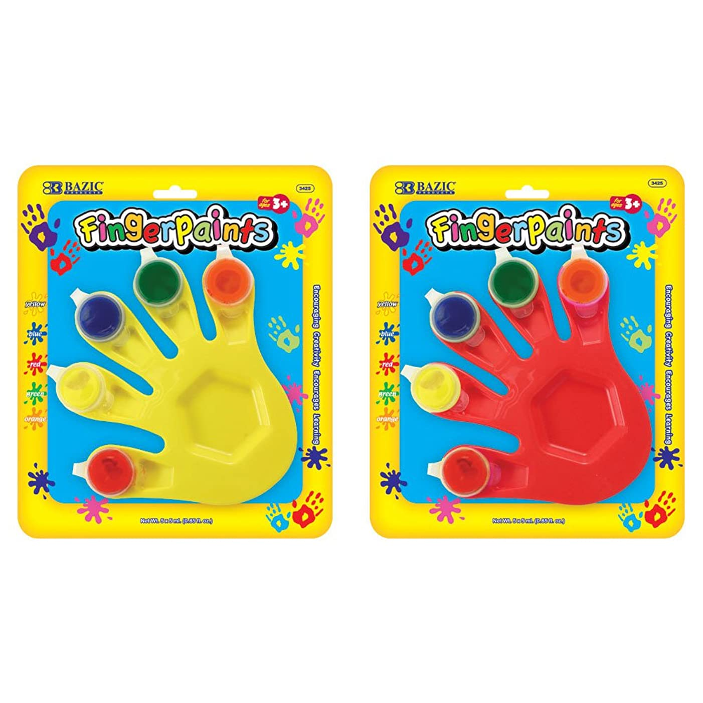 BAZIC 5 Colors 5 ml. Finger Paint w/ Hand Shaped Mixing Tray