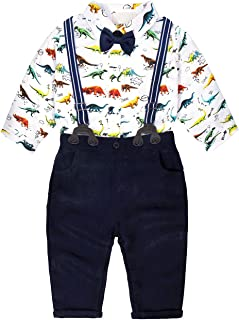 Baby Boys Tuxedo Outfit Toddler Kids Gentle Plaids Shirt and Suspender Pants Clothing Sets