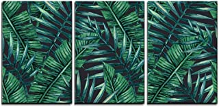 wall26 - 3 Piece Canvas Wall Art - Watercolor Tropical Palm Leaves Seamless Pattern. Vector Illustration. - Modern Home Decor Stretched and Framed Ready to Hang - 24