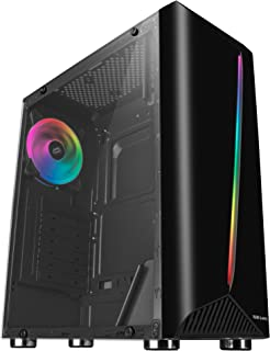 Mars Gaming MCX, Caja PC ATX, Cristal Templado, Ventilador RGB DUAL RING, Negro