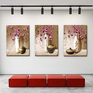 Pintura en lienzo Hermosas flores y jarrón Impreso Naturaleza muerta abstracta Imágenes artísticas de pared Sala de estar ...