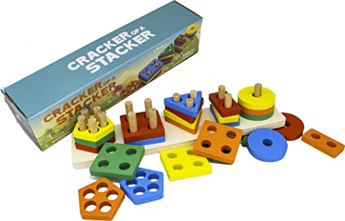 Cracker of A Stacker Wooden Stacking Toy by Little Roos | Durable Educational Preschool Toys for Kids, Supporting fin...