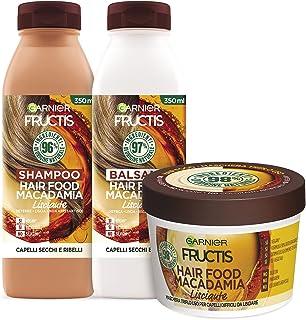 Garnier Fructis Hair Food Macadamia Lisciante, Kit con Shampoo, Balsamo e Maschera per Capelli Secchi e Indisciplinati, Fi...