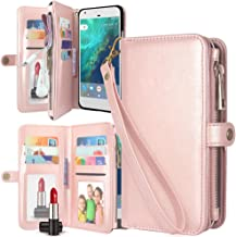 Harryshell Google Pixel 2 Case Luxury 11 Card Slots Mirror Shockproof Kickstand PU Leather Wallet Flip Protective Case Cover with Wrist Strap for Google Pixel 2 (2017) (Zipper Rose Gold)