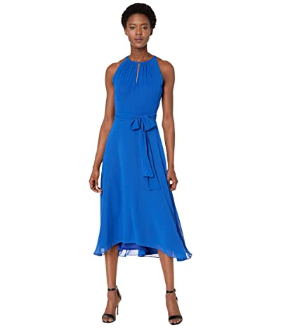 Tahari by ASL Chiffon High-Low Dress with Keyhole Halter Neck (Neon Royal) Women