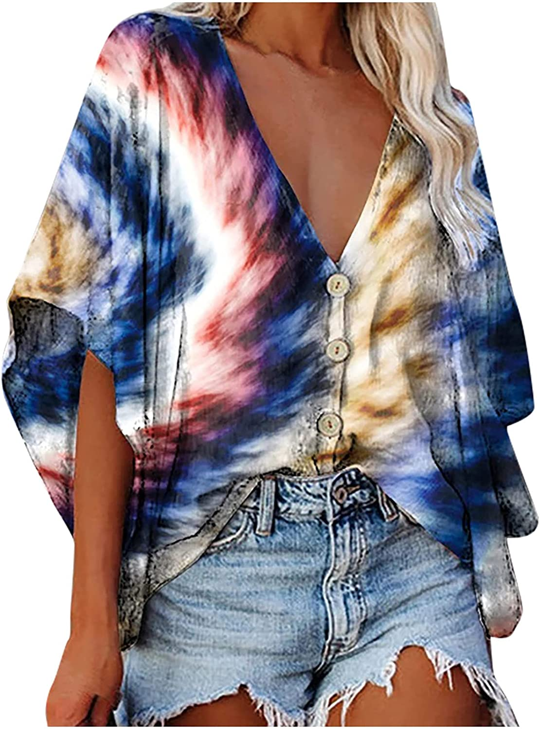 Women's Summer Button-Down Shirts Loose Fit Deep V Neck Tie dye Flare Sleeve Blouse Tops