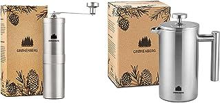 Groenenberg Spar-Pack 5 | Kaffekvarn manuell fransk press rostfritt stål 1 liter | Handkaffekvarn | Kaffebryggare