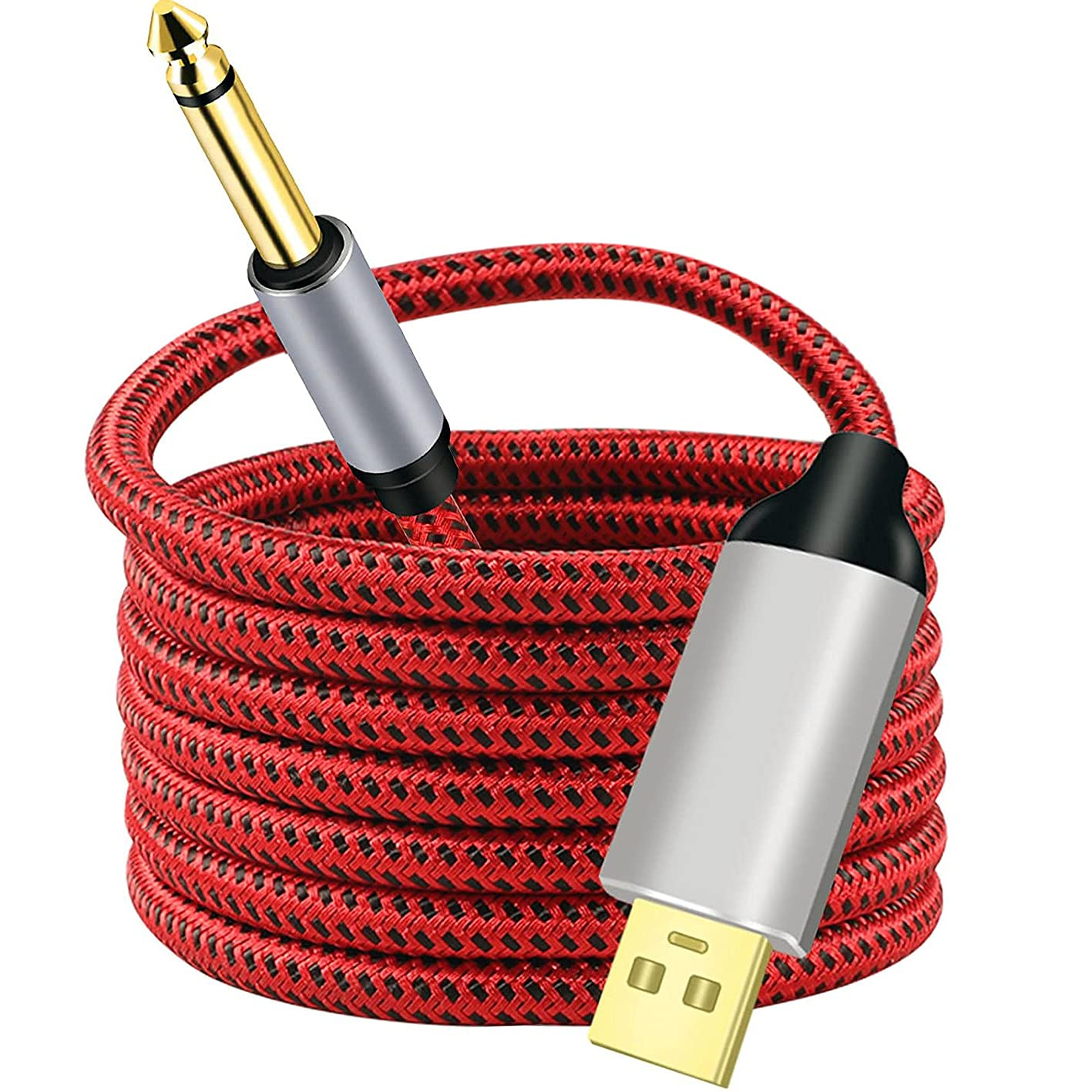 LSYTASG USB a Cable de Guitarra, Interfaz USB Male a Jack de 6,55mm Accesorio de Guitarra Eléctrica, Cable Conector de Audio de Ordenador Adaptador para Instrumento Musical (3M)