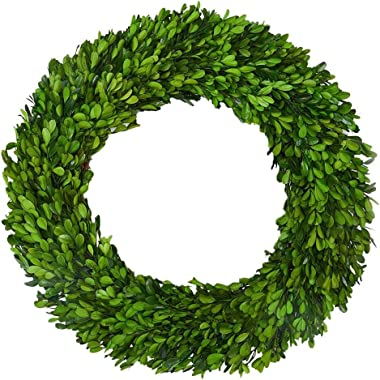 Boxwood Wreath X-Larger 22 inch Preserved Nature Boxwood Wreath Home Decor Stay Fresh for Years for Door Wall Window Party Dé