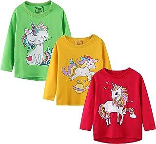 Girl Long Sleeve Tee Shirt Cotton Casual Winter Crewneck Basic Graphic T-Shirt 3 Packs Sets