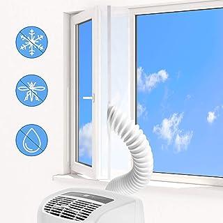 KATELUO 400CM Aislamiento Ventanas, Sello de ventana para Aire Acondicionado Portátiles y Secadoras Sello de Ventanas Impermeable, Anti UV, Anti-Mosquitos, con Dual Cremallera