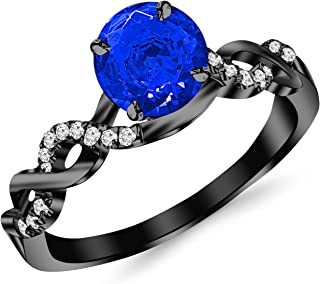 0.63 Carat 14K Black Gold Twisting Infinity Gold and Diamond Split Shank Pave Set Diamond Engagement Ring with a 0.5 Carat Natural Blue Sapphire Center (Heirloom Quality)