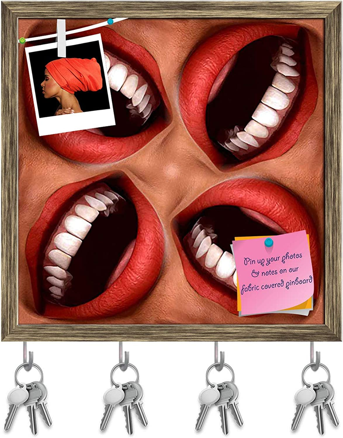 Artzfolio Smiling Mouths Key Holder Hooks   Notice Pin Board   Antique golden Frame 20 X 20Inch