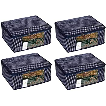 Homestrap 3 Layered Cotton Quilted Large Saree Cover Bag/Wardrobe Organiser with Transparent Window- Navy Blue - Pack of 4