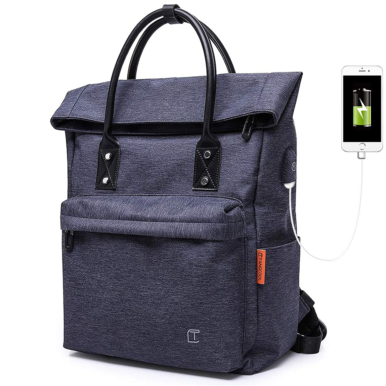 ラップトップバックパックメンズ15.6インチPCリュック USBポート付きパソコンリュックサック 大容量 ビジネスバックパック 防水 通勤 出張 通学旅行 男女兼用 (ブルー)