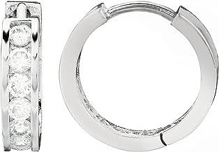 Ritastephens Sterling Silver Channel-set Cubic Zirconia CZ Huggie Hoop Earrings (11mm, 13mm, 14.5mm)