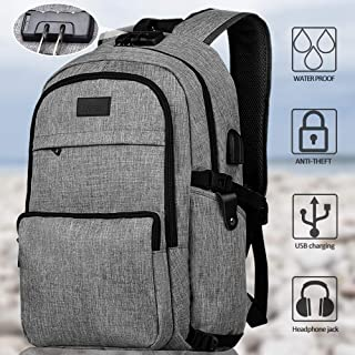 Laptop Backpack Business Waterproof Travel Slim Anti Theft Backpack with USB Charging Port and Headphone Interface School Bookbag Daypack for College Student Women Man Fit Under 17 Inch Laptop