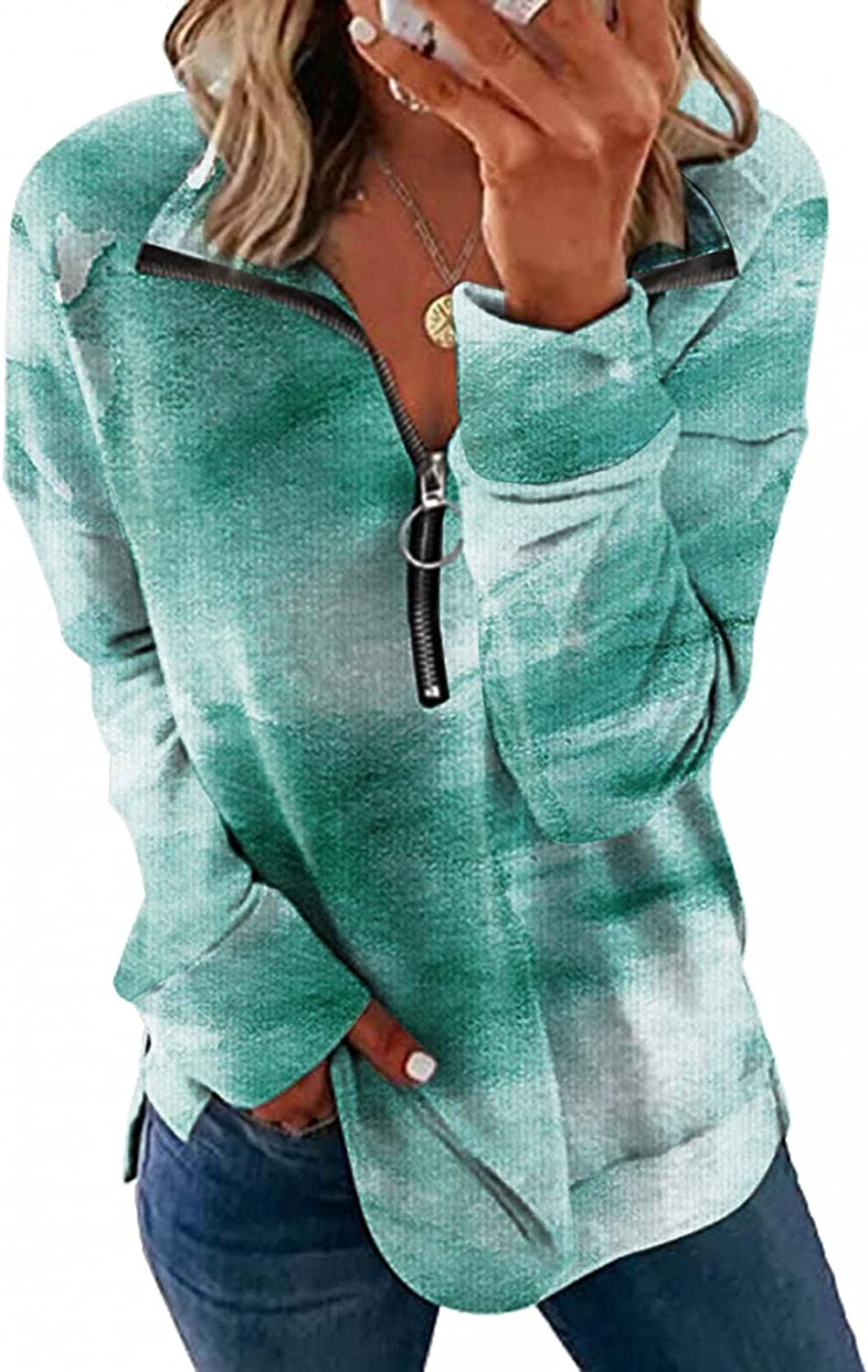 UQGHQO Fashion Sweatshirt for Women, Womens Contrast Color Lapel Zip Up Blouse Long Sleeve Lightweight Pullover T-Shirts