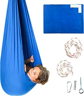 Sensory Swing by DreamGYM - Therapy Indoor Swing - 95% Cotton - Hardware Included - Blue
