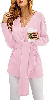 Women Oversized Sexy Sweater Dresses Wrap V Neck Knit Sweaters Fall Batwing Long Sleeve Jumper