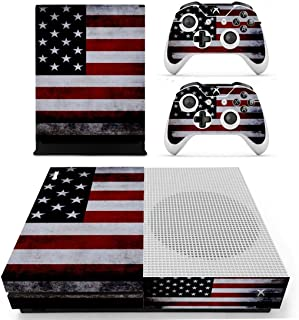 UUShop Protective Vinyl Skin Stickers for Microsoft Xbox One S with Two Free Wireless Controller Decals USA Flag US