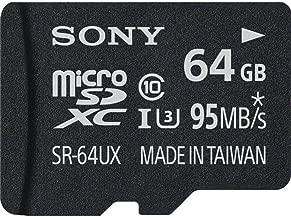Sony 64GB High Speed Class 10 UHS-1 Micro SDXC up to 95MB/s Memory Card (SR64UXA/TQ)