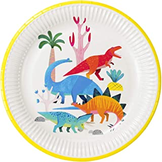 Talking Tables Dino Dinosaur Party Plates, Pack of 8, Dia 23cm, 9