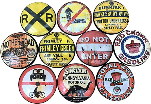 ✅Set of 10 Vintage Road Sign Print Wood Cabinet Knobs #Tools & Home Improvement Hardware