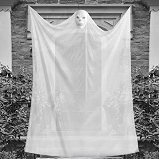 Eaaglo Halloween Decorations, 10ft Halloween Ghost Hanging Decorations with Scary Sounds Effects, Sound Control Glowing Sk...