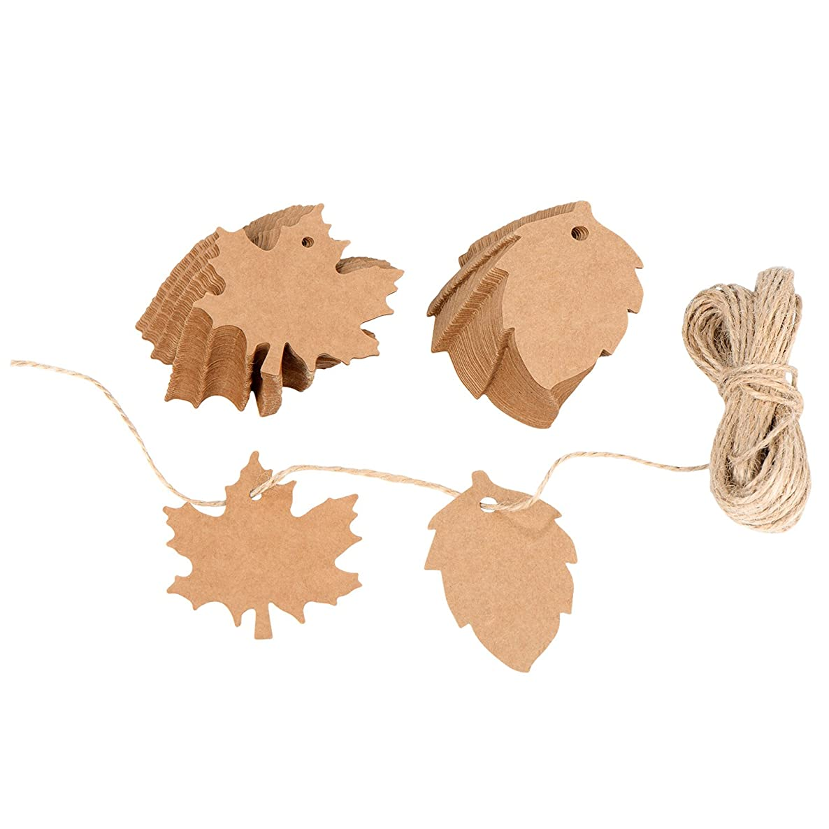 100 Pieces Maple and Leaf Kraft Paper Christmas Thanksgiving Wedding Paty Favor Gift Tags Gift Wrapping with 20 m / 66 Feet String