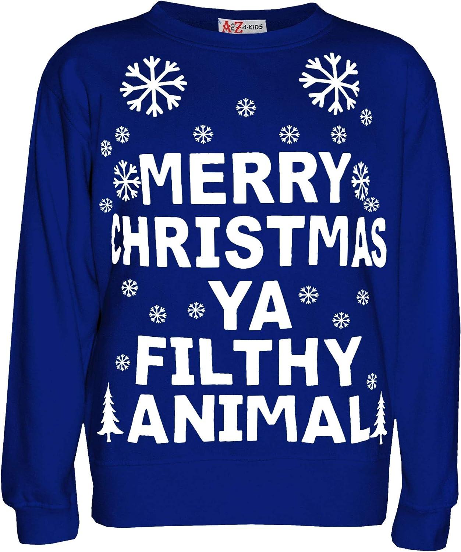 Girls Boys Christmas Jumper Novelty  Merry Christmas Ya Filthy Animal  Sweater Age 7-13 Years