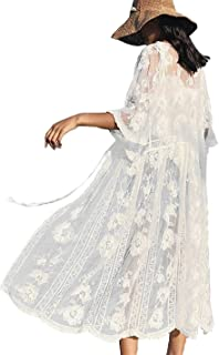 Womens Swimsuit Cover up Long Embroidered Lace Kimono Cardigan