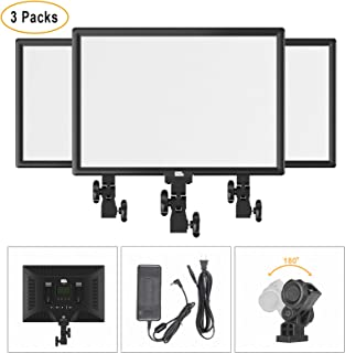 LED Video Light Kit, Pixel 45W Camera Video Light Panel, 3 Packs 3000K-5800K Bi-Color Dimmable LED Panels for YouTube Video,Self-Portrait Shooting,Live Stream,Studio Lighting (with Power Adapter)