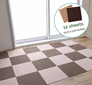 LOOBANI Non-Slip Treads Mat for Dogs and Pets, Self-Adhering Removable Washable Step Rugs Floor Protector for Skid Indoor Surfaces- Set of 12