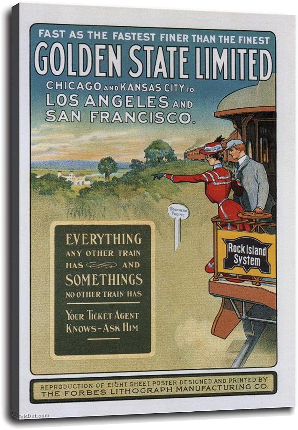 GOLDEN STATE LIMITED Vintage Train STATES Poster Fashionable UNITED Travel Sales for sale 1