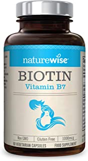 Biotin Hair Skin Nails Beard Growth Supplement from NatureWise - 60 Count