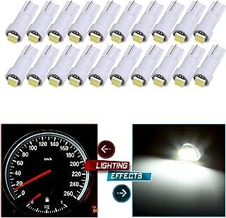 cciyu T5 PC74 T5 37 74 Instrument Panel LED Light Gauge Cluster Indicator Led Bulbs White Light,20Pack