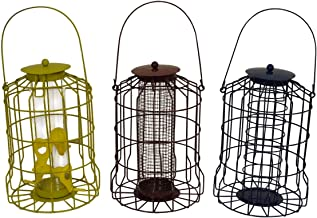Set of 3 x Squirrel Proof Hanging Bird Feeders - Nut, Seed & Fat Ball