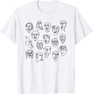 Single Line Face Design Character T-shirt